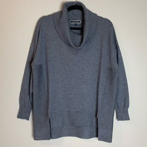 Sweaters - Charcoal Grey Cowl Neck Fine Knit Pullover Sweater